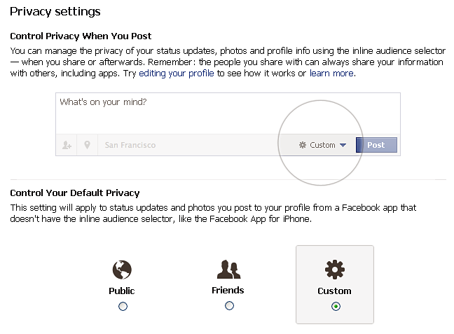 facebook privacy landing page