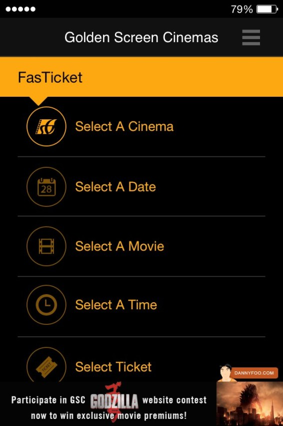 New GSC mobile app movie booking screen